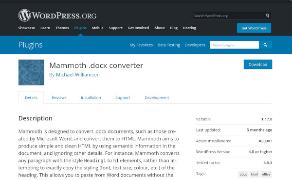 Mammoth docx converter Homepage