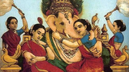 lord ganesh with his five wives - Riddhi, Sidhi, Tushti, Pushti, and Shree.